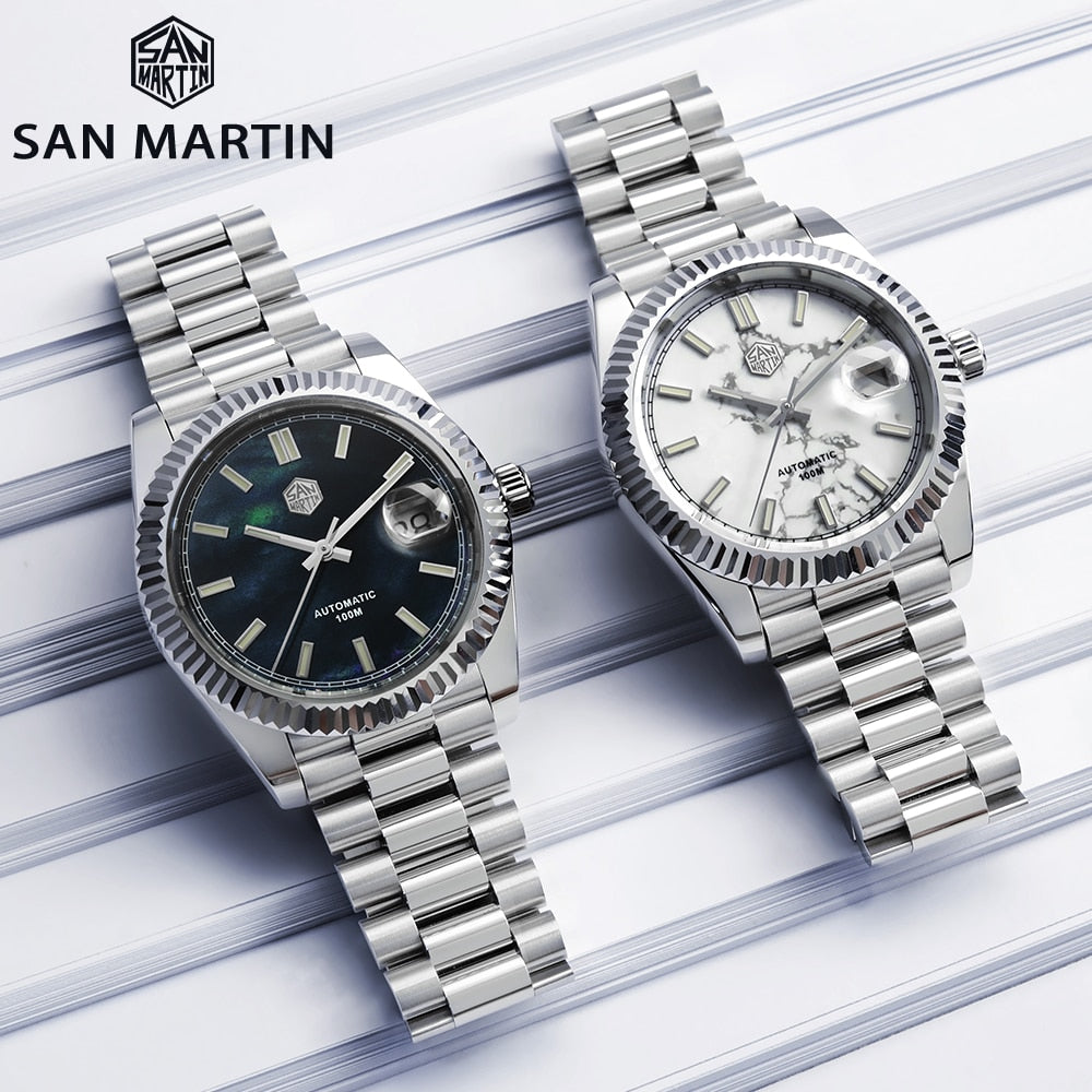 San Martin Retro DATE JUST Business Luxury Sapphire Men Automatic Mechanical Watches Carving Bezel 10Bar BGW-9 Lume Date Window