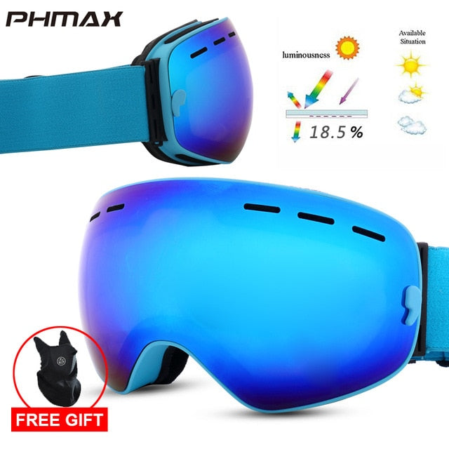 PHMAX 2020 Ski Goggles With Ski Mask Men Women Snowboard Goggles Glasses Skiing UV400 Protection  Anti-fog Snow Skiing Glasses