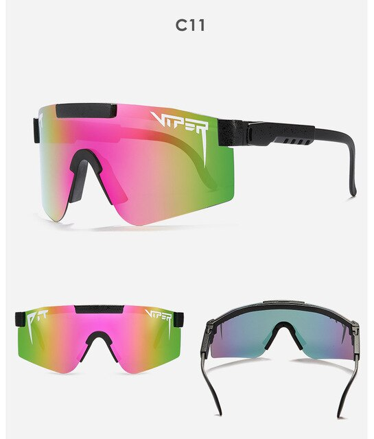 Fashion Classic BRAND Mirrored Green lens pit viper Sunglasses polarized men sport goggle tr90 frame uv400 protection with case