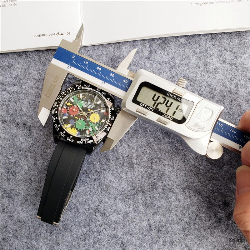 AA Luxury Brand Men's Watch Entertainment Leisure Stainless Steel Quartz Watch Fashion Printed Flower Men's Watch Мужские часы