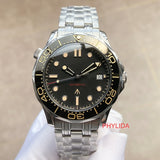 PHYLIDA Black Dial MIYOTA Automatic Watch DIVER300M 007 NO TIME TO DIE Style Sapphire Crystal Solid Bracelet Waterproof
