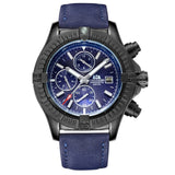 Automatic Self Wind Luminous Mechanical Canvas Style Genuine Black Blue Leather Multifunction Date Month Sport Men Watch