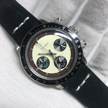 brand watch day quartz tona watches chronograph function works stainless steel case leather strap AAA +