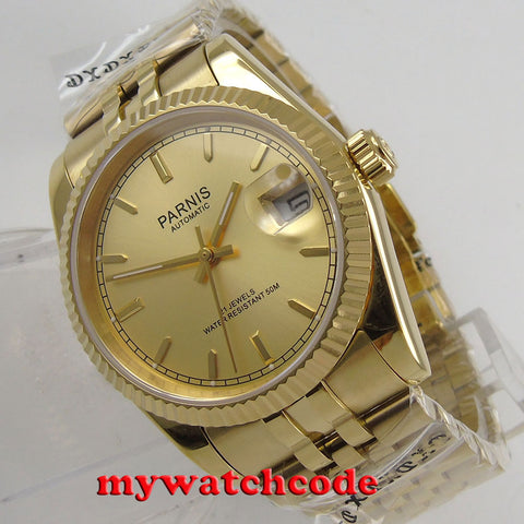 Luxury 36mm Parnis yellow gold dial Date Miyota 8215 automatic mens watch