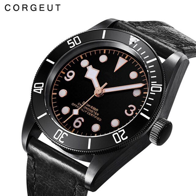 41mm Corgeut luxury top brand sport Sapphire Glass Sterile Coffee Dial PVD Mechanical Male clock Automatic Mens Wrist Watch 2010