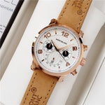 Mens  Watches Stainless Steel Quartz Wristwatches Leather Band