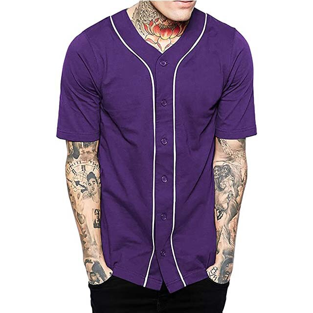 Wholesale Custom Blank Baseball T shirt Baseball Jerseys Blank Print Logo Team Badge Customized Hip-hop Casual Button Tshirts