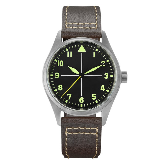 San Martin Pilot Titanium Vintage Military Enthusiasts NH35 Automatic Mechanical Men Watch Leather Strap Waterproof Luminous