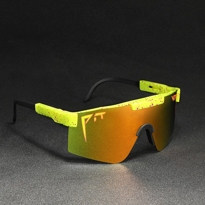 Pit Viper  Polarized Sunglasses for Men  Oversized outdoor Sport Goggle Yellow TR90 Frame UV400 Protection  Rimless sun glasses