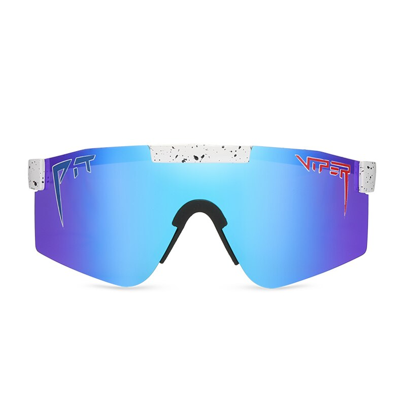 One Piece Lens Adjustable Frame Oversized Windproof Polarized Sunglasses for men/women Blue mirrored lens Pit Viper PV01-c10