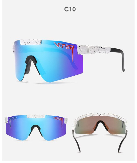 luxury flat top eyewear tr90 frame Blue mirrored lens Windproof Sport Polarized Sunglasses pit viper high quality UV400 Glasses
