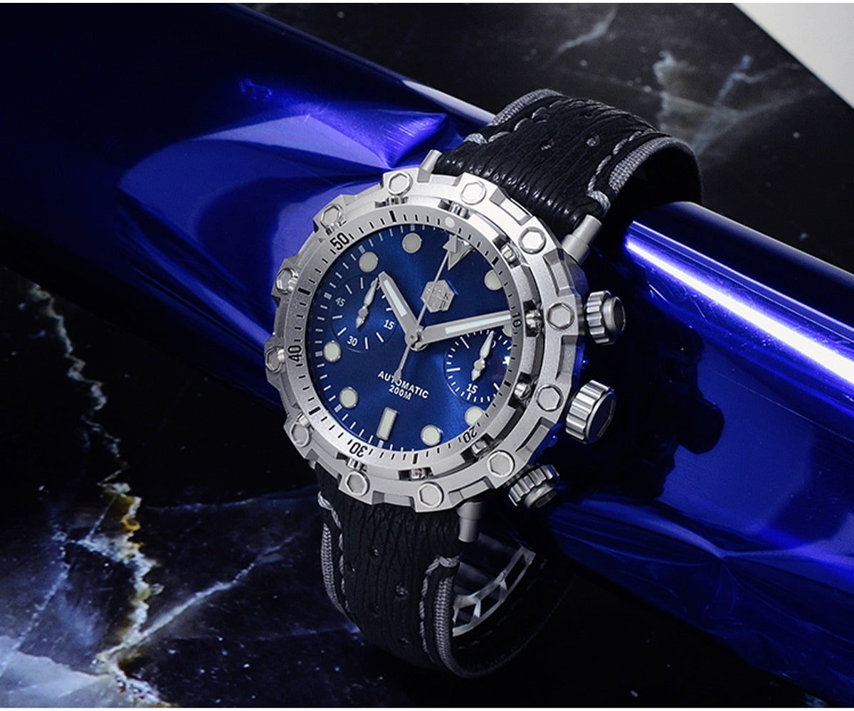San Martin Diver Titanium Grade 5 Men Mechanical Watch Swiss ETA 7753 Chronograph Sapphire Shark Leather Limited Edition Relojes