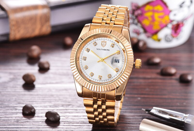 2017 Calendar Gold  role Quartz Watch Men Clock TopBrand Luxury Wrist WatchesGolden Hodinky Relogio Masculino quartz-watch