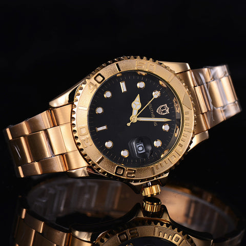 2017 role Gold Watch Men Watches Luxury Famous Wristwatch Male Clock Golden Quartz Wrist Watch Calendar Relogio Masculino