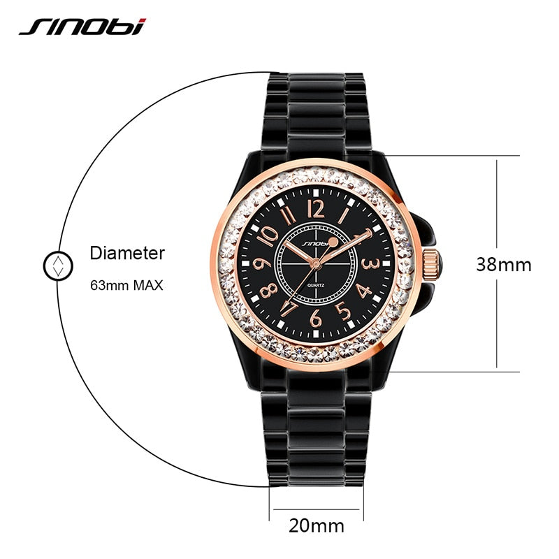 SINOBI Fashion Women Diamonds Wrist Watches Imitation Ceramics Watchband Top Luxury Brand Dress Ladies Geneva Quartz Clock 2018