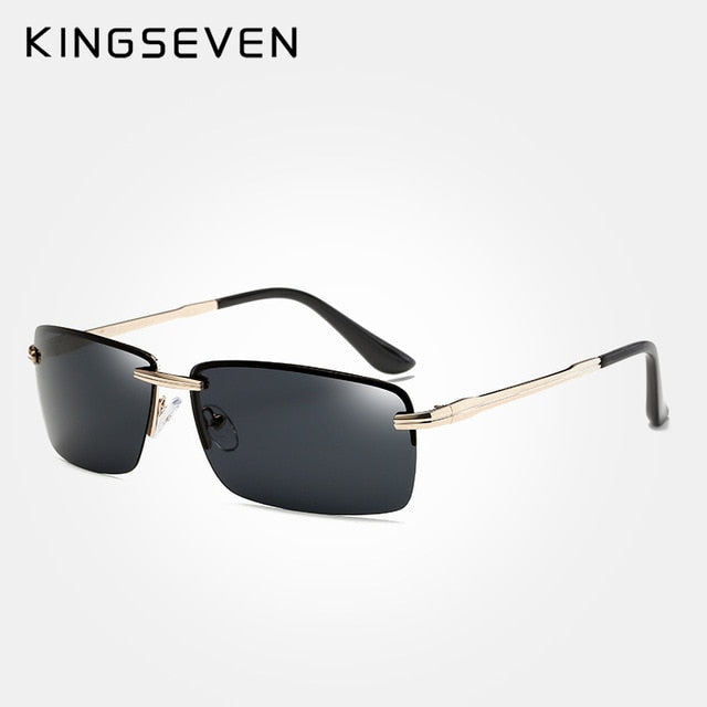 KINGSEVEN Rimless Sunglasses Men Polarized Gold Men's Shades Sun Glasses Luxury brands Night Driving Glasses Oculos escuro