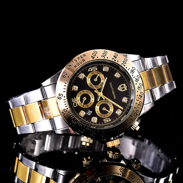 2017 SOUTHBERG GMT Luxury Brand daytona  Watch Men Casual Male Watches Business Sports Military Stainless Steel Watch