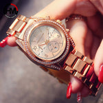 Women Rose Gold Top Luxury Brand Diamond Rhinestones Dress Ladies Wrist Watches Calendar Waterproof Fashion Casual Wristwatch