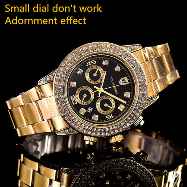 NEW Top Luxury  Brand SOUTHBERG Men woman Watches rhinestone Date Clock Male Steel Strap Casual Quartz Watch Wrist Watch