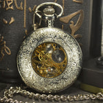 TIEDAN Silver Steampunk Mechanical Pocket Watch Men Vintage Skeleton Antique Luxury Brand Necklace Pocket & Fob Watch Chain