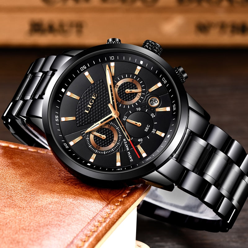 LIGE 2018 Watch Men Fashion Sport Quartz Clock Mens Watches Brand Luxury Full Steel Business Waterproof Watch Relogio Masculino