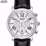 JEDIR Brand Woman's Chronograph Quartz Watch with 24 Hours and Calendar Display Black Leather Strap Wrist Stopwatches for Ladies