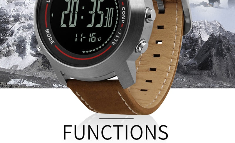 CAINO Men Sports Digital Wristwatches Compass Altimeter Barometer Leather Band Fashion Outdoor Watches Clock Relogio Masculino