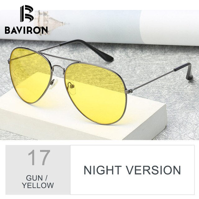 BAVIRON Pilot Sunglasses Unisex Vintage Pilot Sunglasses Women Brand Design Night Vision Goggles Glasses for Driving Oculos