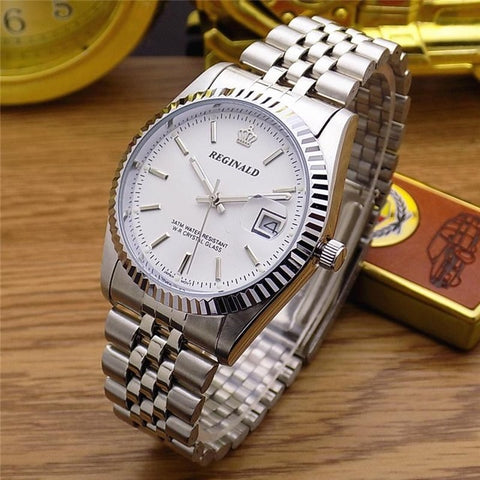 HK Fashion Brand REGINALD Waterproof Men Lady Lovers Full Stainless Steel With Calendar Watch Dress Business Gifts Wristwatches