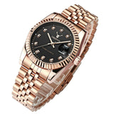 Men watch Deerfun famous brand business Rose gold diamond fashion calendar luxury waterproof quartz wristwatch Relogio Masculino