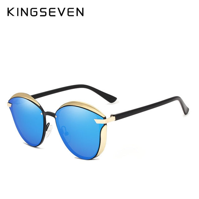 KINGSEVEN Brand Design Cat Eye Sunglasses Women polarized Luxury Alloy Frame+TR90 Sun Glasses Fashion Retro Oculos De Sol Gafas