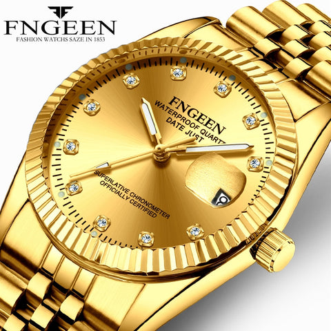 Luxury Gold Men's Watches Top Band Wristwatches for Elegant Men Stainless Steel