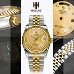 Relogio Masculion Gold Diamond Role Mens Watches Top Brand Luxury Clock Male lovers Wristwatch Women Quartz Steel Business