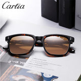 Carfia Men's Polarized Vintage Sunglasses Square Eyewear Fashion Retro Sun Glasses Brand Designer Driving 100% UV Protection