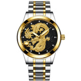 Fashion Steel Strap Luxury Watch Men Creative Dragon  Quartz-watch Casual Male Sports Masculino Business Wristwatch Clock
