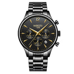 NIBOSI Mens Watches Gold Stainless Steel Waterproof Quartz Watch Men Brand Luxury Clock Male Sports Wrist Watch Wholesale Saat