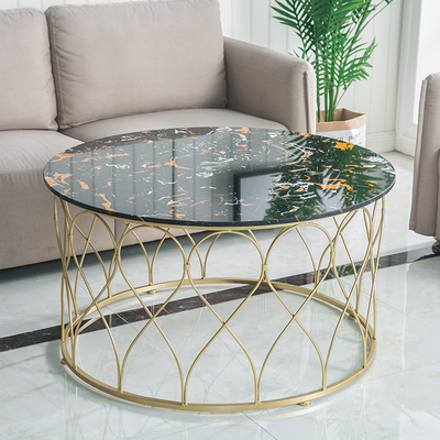 Louis Fashion Marble Table Coffee Circular Modern Living Room Creative Small Family Gold Iron