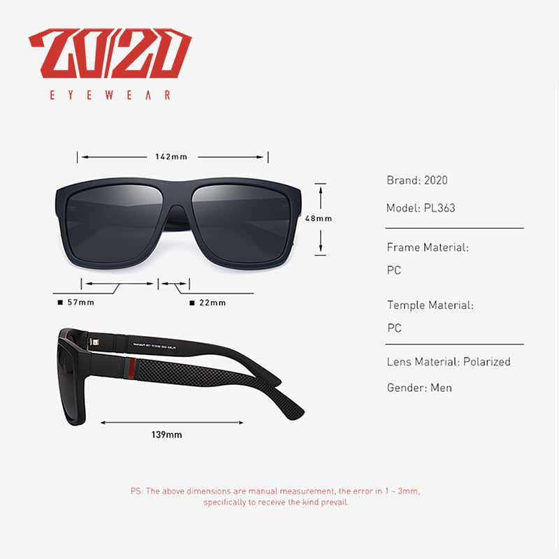 20/20 Brand Design Retro Polarized Sunglasses Men Driving Shades Male Vintage Square Sun Glasses For Men Oculos Eyeglasses PL363