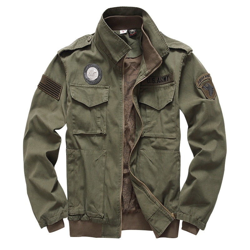 Tactical Jacket Men's 101 Airborne Military Uniform Army Style Winter Flight 2019 Ma1 Coat American Military Clothing Male Green