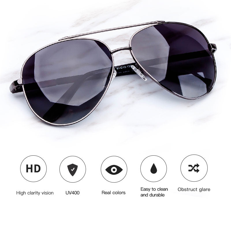 COLOSSEIN Fashion Men Sunglasses Pilot Style Oval Metal Frame TAC Polarized Eyewear Fishing Driving Style New Arrival Sunglasses