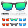 QUESHARK TR90 Frame HD Mirrored Polarized Sunglasses For Men Women Fishing Hiking Outdoor Sports