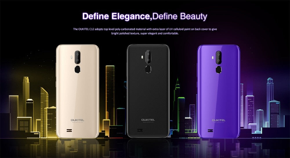 Oukitel C12 Face ID 6.18 Inch 19:9 U-notch Display Android 8.1 2GB RAM 16GB ROM MT580 3300mAh Battery 8MP+2MP Camera Smartphone