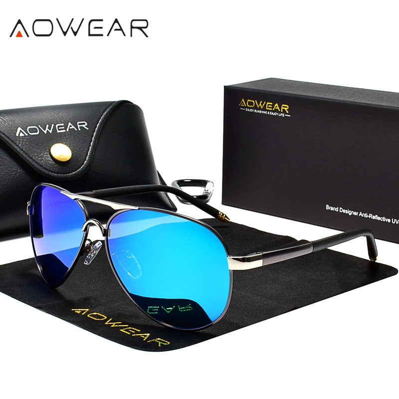 AOWEAR Men's Aviation Sunglasses Men Polarized Mirror Sunglass for Man HD Driving Polaroid Sun Glasses lunettes de soleil homme