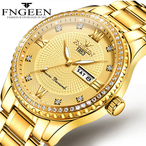 Men High Quality Mens Watches Top Brand Luxury Quartz Watch Full Steel Diamond Male Clock Date Week Waterproof Gold Wristwatch