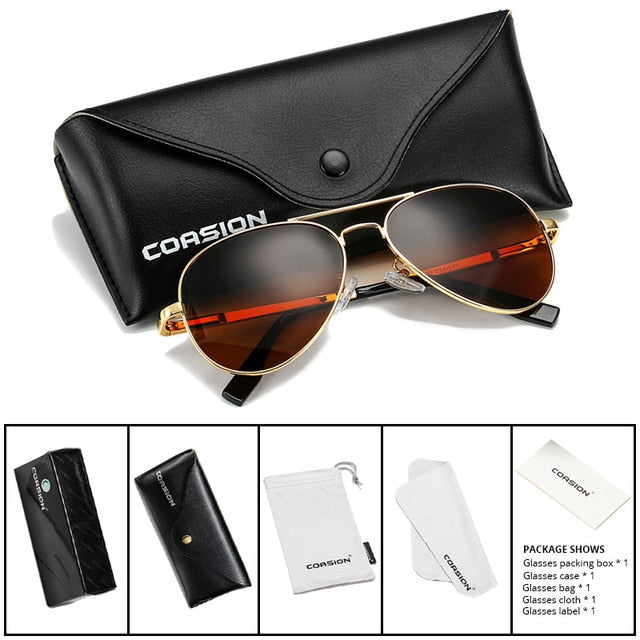 COASION Classic Pilot Sunglasses Men Women Polarized 2019 Metal Frame Sun Glasses Mirror Lens Driving Eyewear UV400 58mm CA1095
