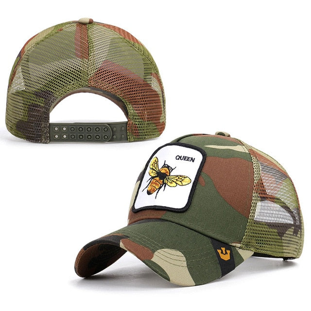2019 new fashion bee embroidery mesh baseball cap Spring summer Hat Women Men animal adjustable snapback outdoor shade bone