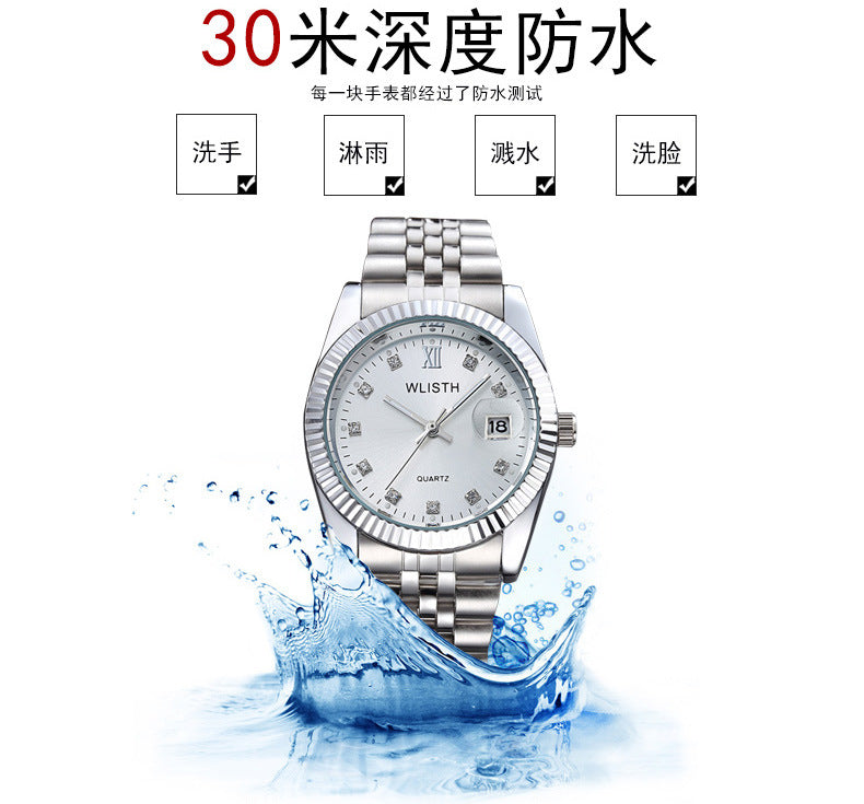 WLISTH Couple Watch Women Men Luxury Crystal Quartz Wrist Watches Lovers Clock Week Date Rose Gold Montre Femme Relogio Feminino