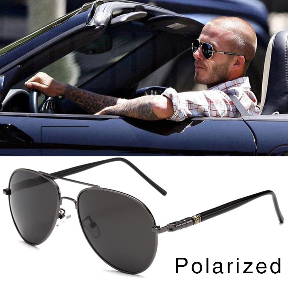 FOOSCK High Quality Spring Leg Alloy Men Sunglasses Polarized Lens Brand Design Pilot Male Sun Glasses Driving Eyewear UV400