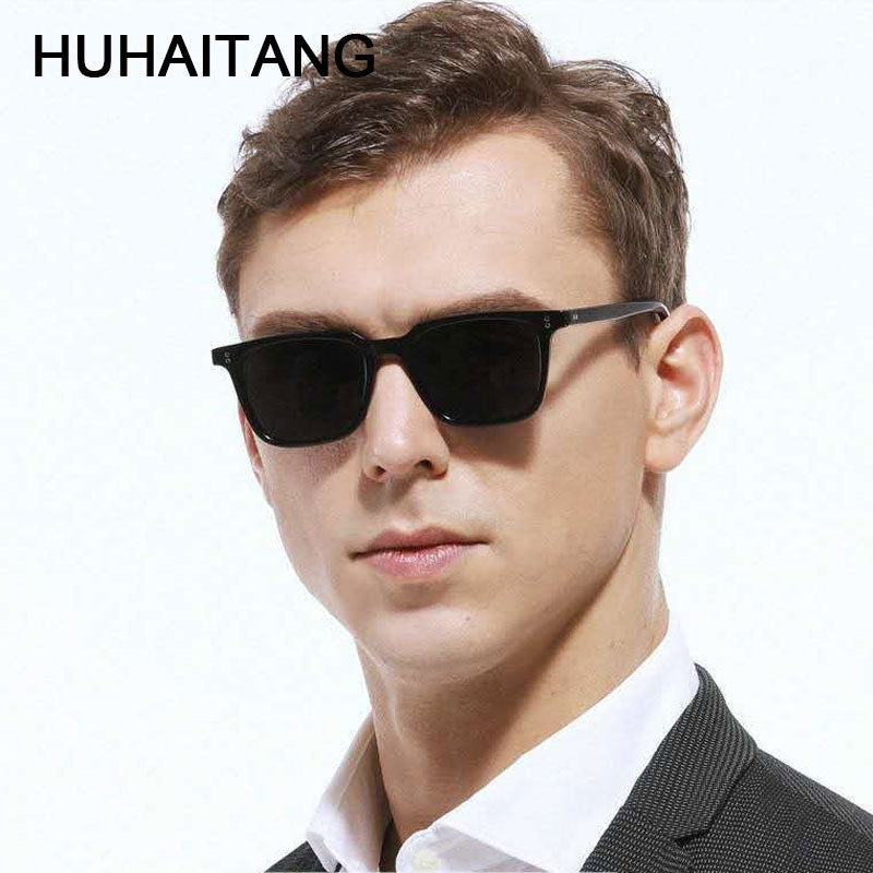 HUHAITANG Luxury Mens Sunglasses Men Brand Vintage Suqare Leopard Sunglass Women 2019 Designer Small Rivet Sun Glasses For Woman