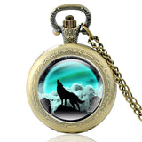 New Fashion Vintage Bronze Mysterious Wolf Quartz Pocket Watch Retro Men Women Wolf Pendant Necklace Antique Jewelry